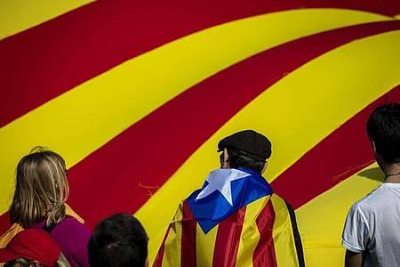 Anhänger der katalanischen Unabhängigkeit demonstrieren Anfang 2020 mit ihrer Flagge. Foto: Emilio Morenatti/AP/dpa