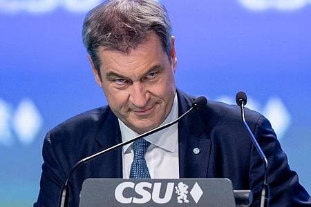 Parteivorsitzender Markus Söder beim CSU-Parteitag in Nürnberg. Foto: Daniel Karmann/dpa