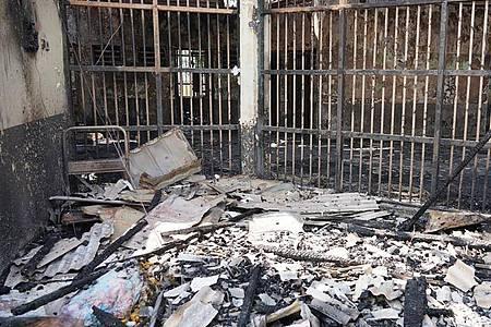 Blick in eine der ausgebrannten Zellen des Tangerang-Gefängnisses. Foto: --/Indonesian Ministry of Justice and Human Rights/AP/dpa