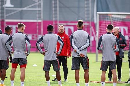 Bayern-Trainer Hansi Flick (M) muss vorerst auf Serge Gnabry verzichten. Foto: Marco Donato/FC Bayern München/dpa
