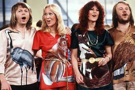 Die schwedische Popgruppe Abba 1978 mit (l-r) Björn Ulvaeus, Agnetha Fältskog, Anni-Frid Lyngstad und Benny Andersson. Foto: Schilling/dpa