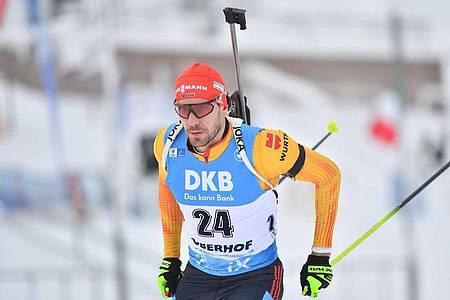 Arnd Peiffer sprintete in Oberhof auf Platz drei. Foto: Martin Schutt/dpa