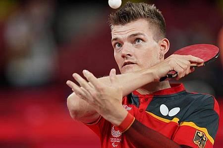 Tischtennisspieler Thomas Schmidberger hat bei den Paralympics das Finale erreicht. Foto: Marcus Brandt/dpa