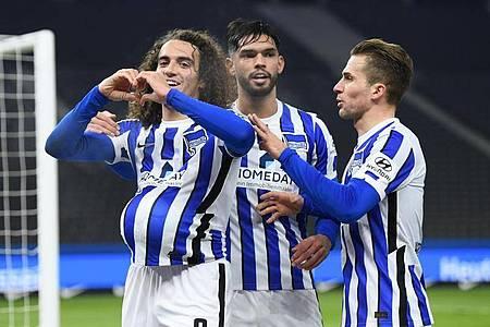 Matteo Guendouzi (l) brachte die Hertha in Führung. Foto: Annegret Hilse/Pool via REUTERS/dpa