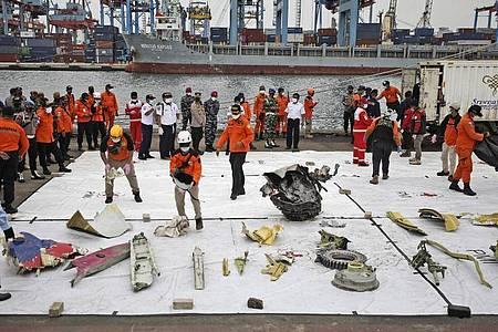 Trümmerteile, die in den Gewässern um die Absturzstelle des Passagierflugzeugs der Sriwijaya Air gefunden wurden, werden im Hafen Tanjung Priok zur Inspektion ausgelegt. Foto: Dita Alangkara/AP/dpa