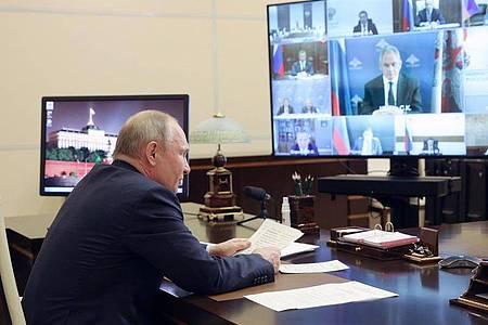 Russlands Präsident Wladimir Putin in seiner Residenz Nowo-Ogarjowo. Für eine gewisse Entspannung dürfte der Sanktionsverzicht auch in den belasteten Beziehungen zwischen den USA und Russland sorgen. Foto: Sergei Ilyin/Pool Sputnik Kremlin/AP/dpa