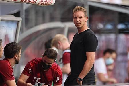 Bayerns Trainer Julian Nagelsmann wurde in Leipzig mit Pfiffen empfangen. Foto: Jan Woitas/dpa-Zentralbild/dpa