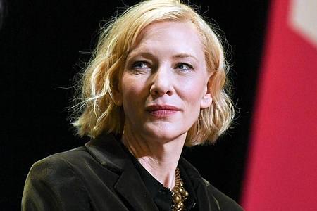 Schauspieler Cate Blanchett nimmt an einem Gespräch der Berlinale Sektion Talents im HAU 1 teil. ). Foto: Jens Kalaene/dpa-Zentralbild/dpa