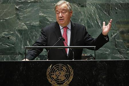 Der Generalsekretär der Vereinten Nationen, Antonio Guterres, spricht während 76. Generaldebatte der UN-Vollversammlung. Foto: Eduardo Munoz/Pool Reuters/AP/dpa