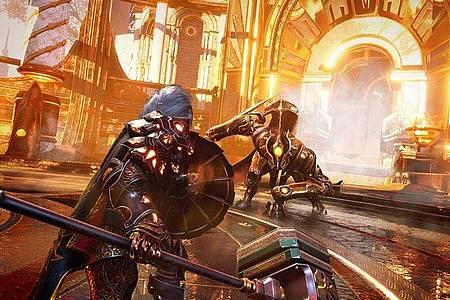 Held gegen Monster: Solche Kämpfe sind der Hauptbestandteil von «Godfall». Foto: Counterplay Games/Gearbox Software/dpa-tmn