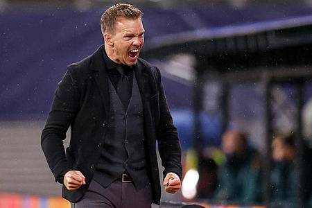 Jubelt RB-Coach Julian Nagelsmann mit Leipzig auch in Old Trafford?. Foto: Jan Woitas/dpa-Zentralbild/dpa