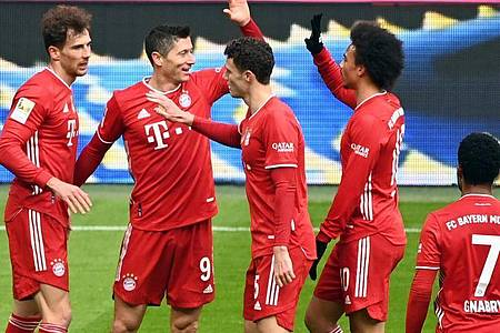 Sind gegen den VfB Stuttgart zu Hochform aufgelaufen: Die Bayern siegten in Unterzahl mit 4:0. Foto: Matthias Balk/dpa POOL/dpa