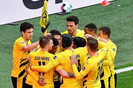 Borussia Dortmund gewann gegen RB Leipzig die Generalprobe für das DFB-Pokalfinale. Foto: Martin Meissner/dpa