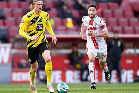 Erling Haaland bewahrte Borussia Dortmund vor eine Pleite beim 1. FC Köln. Foto: Marius Becker/dpa-Pool/dpa