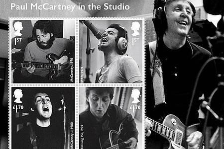 Die Royal Mail bringt zu Ehren von Ex-Beatle Paul McCartney Sonderbriefmarken heraus. Foto: Royal Mail/PA Media/dpa