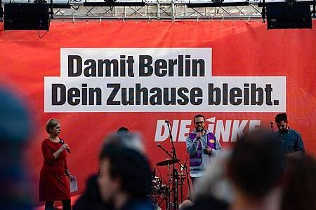 Die Linke macht Wahlkampf in Berlin. Foto: Paul Zinken/dpa