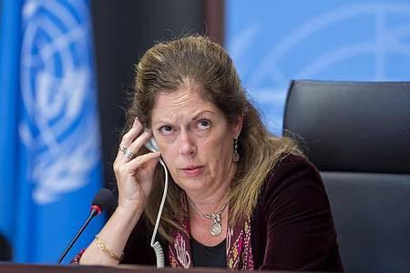 Stephanie Williams, amtierende Sonderbeauftragte des Generalsekretärs und UN-Sondergesandte für Libyen. Foto: Martial Trezzini/KEYSTONE/dpa