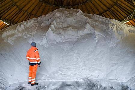Lager mit Streusalz. Im rheinland-pfälzischen Idar-Oberstein haben Unbekannte 2,5 Tonnen Streusalz gestohlen. (Symbolbild). Foto: Patrick Pleul/dpa-Zentralbild/ZB