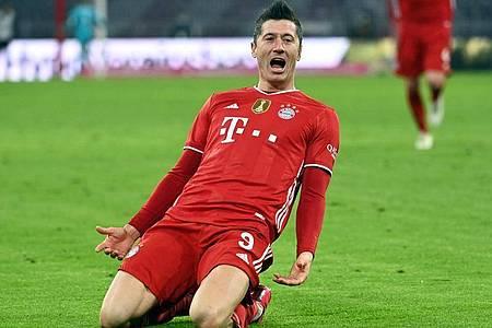 Bayerns Stürmer-Star Lewandowski hat nach 25. Bundesliga-Spieltagen bereits 32 Tore erzielt. Foto: Sven Hoppe/dpa-POOL/dpa