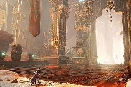Immer was zu sehen: «Godfall» spielt in einer wunderschönen Fantasywelt. Foto: Counterplay Games/Gearbox Software/dpa-tmn