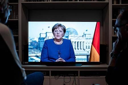 In ihrer Rede appellierte Angela Merkel an die Disziplin der Bürger. Foto: Fabian Strauch/dpa