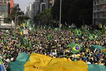 Zehntausende Menschen haben mit anti-demokratischen Slogans für Bolsonaro demonstriert. Foto: Andre Penner/AP/dpa