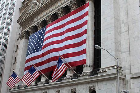 USA Flagge an einen Gebäude