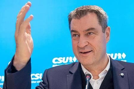 Nicht ohne Mitsprache der Schwesterpartei: CSU-Chef Markus Söder will beim Kanzlerkandidaten der Union mitreden. Foto: Peter Kneffel/dpa