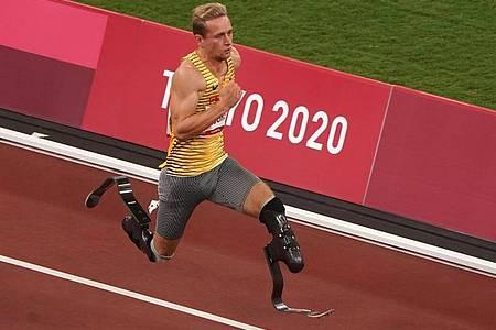 Hat seinen Ruf als schnellster Mann auf zwei Prothesen unterstrichen: Johannes Floors. Foto: Marcus Brandt/dpa