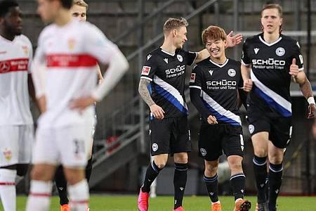 Arminia Bielefeld gewann zu Hause klar gegen den VfB Stuttgart. Foto: Friso Gentsch/dpa