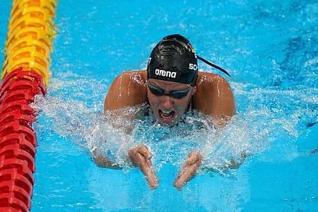 Verena Schott ist in Tokio erneut zur Bronzemedaille geschwommen. Foto: Marcus Brandt/dpa