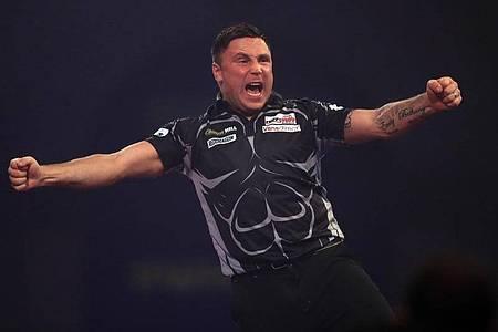 Gerwyn Price steht erstmals im Endspiel der Darts-WM. Foto: Adam Davy/PA Wire/dpa