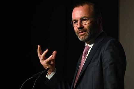 Der Vorsitzende der EVP-Fraktion im Europäischen Parlament, Manfred Weber (CSU), gestikuliert während einer Rede beim Kongress der Kommunalpolitischen Vereinigung von CDU und CSU. Foto: Nicolas Armer/dpa
