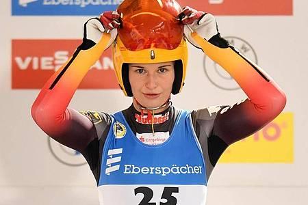 Julia Taubitz gewann auf der Kunsteisbahn am Königssee. Foto: Tobias Hase/dpa