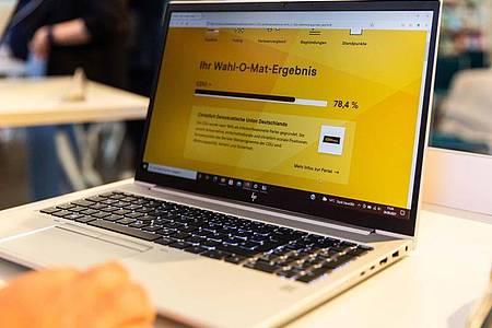 Auf einem Computerbildschirm ist ein Ergebnis einer Abfrage des Wahl-O-Mat für die Bundestagswahl 2021 dargestellt. Foto: BPB/Bundeszentrale für politische Bildung /dpa
