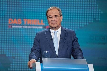 Unions-Kanzlerkandidat Armin Laschet (CDU) beim ersten TV-Triell. Foto: Michael Kappeler/dpa Pool/dpa