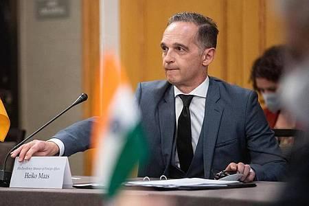 Heiko Maas (SPD), Außenminister, trifft sich beim sogenannten G4-Außenminister-Format mit seinen Amtskollegen aus Brasilien, Indien und Japan, um mit ihnen über die Reform des UN-Sicherheitsrates zu debattieren. Foto: Bernd von Jutrczenka/dpa