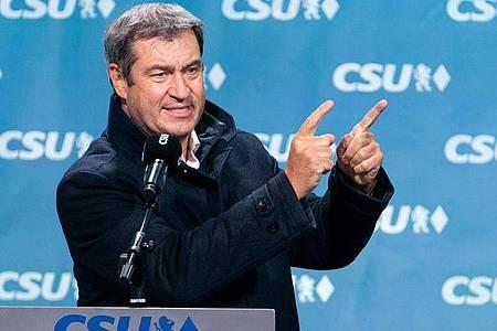 Der bayerische Ministerpräsident Markus Söder (CSU) fürchtet einen «historischen Linksrutsch». Foto: Nicolas Armer/dpa