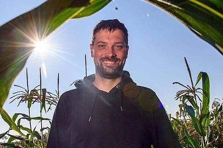 Ackerbauer Phillip Krainbring steht in seinem Maisfeld. Der junge Landwirt aus der Börde experimentiert mit Mais und erklärt seine Arbeit online. Foto: Klaus-Dietmar Gabbert/dpa-Zentralbild/dpa