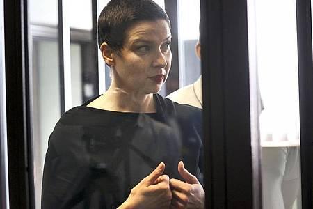 Maria Kolesnikova während einer Gerichtsverhandlung in Minsk. Foto: Ramil Nasibulin/BelTA/AP/dpa