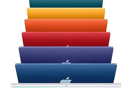 Einfach nur Silber war gestern. Neben dem Alu-Look gibt es nun noch sechs weitere Farbtöne für das neue iMac-Modell mit 24 Zoll Bildschirmgröße. Foto: Apple Inc./dpa-tmn