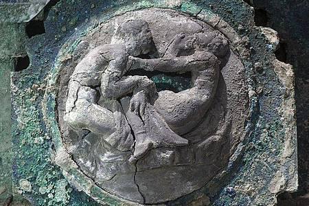 Erotische Darstellung am Triumphwagen aus der Antike. Foto: -/Parco archeologico di Pompei/dpa