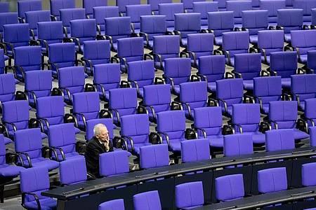 Wolfgang Schäuble Ende Januar während einer aktuellen Stunde zur Wahlrechtsreform im Deutschen Bundestag. Foto: Christoph Soeder/dpa