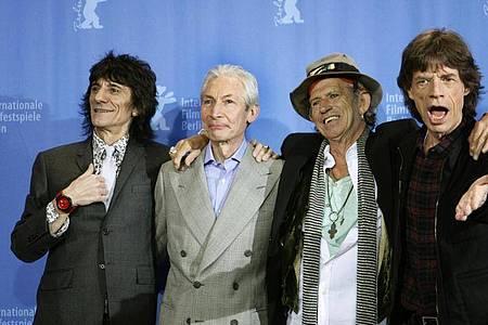 Die Rolling Stones - Ron Wood (l-r), Charlie Watts, Keith Richards und Mick Jagger - im Jahr 2008. Foto: Rainer Jensen/dpa