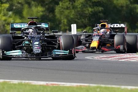 Lewis Hamilton (l) und Max Verstappen sind in der Formel 1 Dauerrivalen. Foto: Darko Bandic/AP/dpa