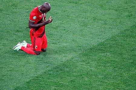 Romelu Lukaku (Belgien) feiert das 3:0 gegen Russland. Foto: Anton Vaganov/Reuters Pool/AP/dpa