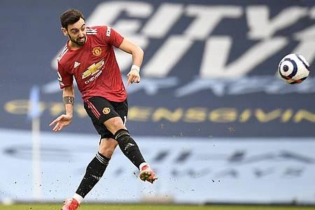 United-Torschütze des frühen 1:0 in der zweiten Spielminute: Bruno Fernandes. Foto: Peter Powell/PA Wire/dpa