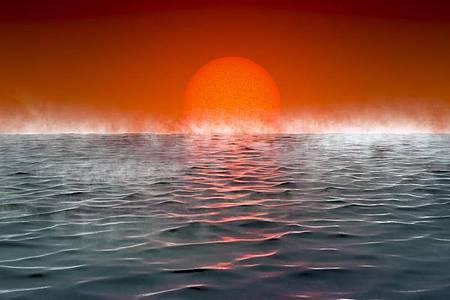 """Künstlerische Darstellung eines Exoplaneten """"Hycean"""", - benannt nach hydrogen (Wasserstoff) und ocean (Ozean). Foto: Amanda Smith/University of Cambridge/dpa"""