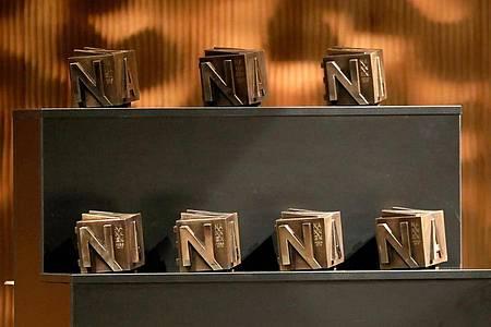Die Nannen-Preise stehen bei der Verleihung in der Hamburger Elbphilharmonie bereit. Foto: Georg Wendt/dpa