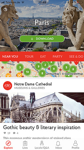 Screenshot aus der Like a Local-App